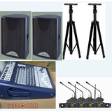 会议室音响扩声工程套装 十寸音响设备 UW402话筒,逊卡调音台