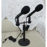专业双录音话筒YHL-969 配双夹头 电容麦克风 采访话筒 桌面支架